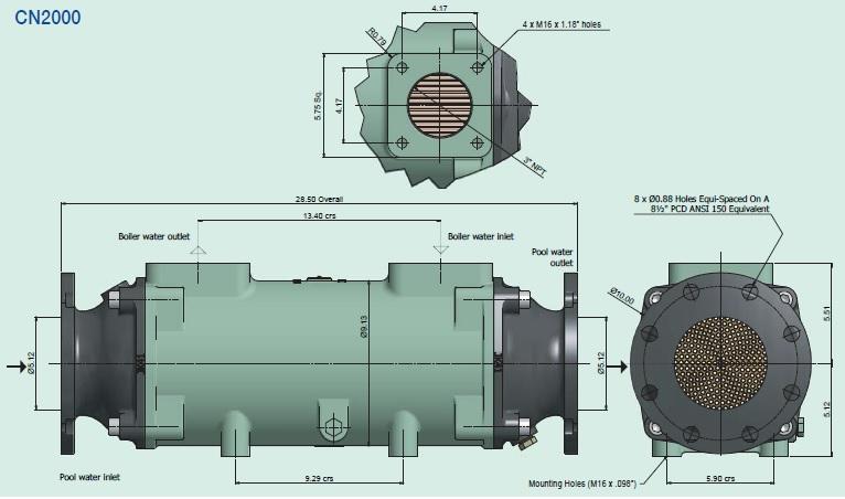 CN2000 Commercial Pool Heat Exchanger