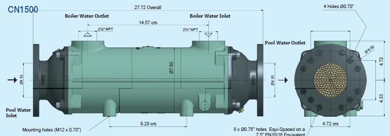 CN1500 Bowman Commercial Pool Heat Exchanger