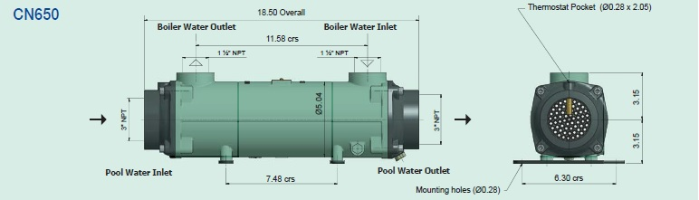 CN650 Bowman Commercial Pool Heat Exchanger