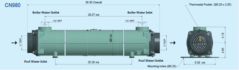 CN980 Bowman Commercial Pool Heat Exchanger